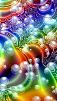 Bubbles and rainbow colors Art Fractal, Fractal Design, Fractal Images, World Of Color, Color Of Life, Rainbow Art, Rainbow Colors, Rainbow Bubbles, Colored Bubbles