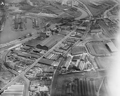 Hall and Pickles Iron and Steel Warehouse and Old Trafford Football Ground, Trafford Park, 1929