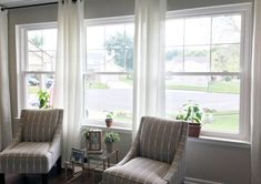 Looking to upgrade your windows? Come see how easy it is to add trim molding to existing window sill in this tutorial. Window Sill Decor, Little Plants, Bright Flowers, Large Windows, Window Treatments, Small Spaces, Sweet Home, House Design, Interior Design