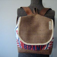 Backpack made from a recycled Aroostook County potato sack.