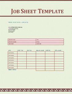 Job Sheet Template Word Templates, Templates Printable Free, Free Printables, List Of Jobs, Job List, Maintenance Jobs, Invoice Template, Free Resume, Sample Resume