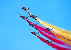 Comeback of the Spain national aerial demonstration team Patrulla Águila to Slovakia Spanish Air Force, Helicopter Plane, Air Show, Murcia, Fighter Jets, Aircraft, Air Planes, Madrid, Aviators