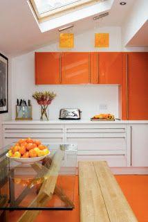 Brabourne Farm: Do the Bright Thing Orange kitchen Kitchen Cabinets And Countertops, Painting Kitchen Cabinets, Kitchen Cabinet Design, Kitchen Decor, Orange Furniture, Kitchen Paint Colors, Bathroom Colors, Orange House, Piece A Vivre