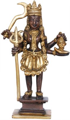 Mother Goddess Kali (Saviour of truth), Hindu Brass Statue Mother Kali, Mother Goddess, Hindu Statues, Brass Statues, Trident, Central Asia, Metal Crafts, Blessings, Sword