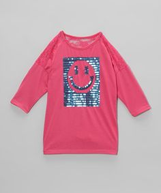 This sparkly tee will put a smile on any little lady! A sequin smiley face design boasts extra glam, while a stretchy cotton blend means all-day happiness—and comfort.
