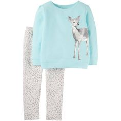Child of Mine by Carter's Baby Toddler Girl Long Sleeve Shirt and Pant Outfit Set