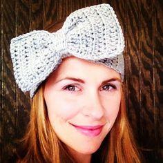 Crochet Bow Headband Crochet Bow Ear Warmer Big by bearsandboone