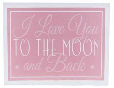 Pink Love You to the Moon Canvas Wall Art Triplets Nursery, Girl Nursery, Girls Bedroom, Nursery Decor, Art Craft Store, Craft Stores, Baby Lane, Grey Throw Blanket, Hobbies For Men