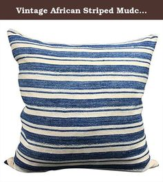 Vintage African Striped Mudcloth Pillow   Lido. Indigo mudcloth is handwoven and expertly dyed in a resist pattern with indigo, a centuries old practice with cultural significance. The design has become a must have here in the states, and thus an important export for West Africa. It is becoming more and more prevalent in America's fashion and home decor scene. Bring a bit of the world into your own home with our collection of Global Eclectic pillows. One of the Stef's has been mended with…