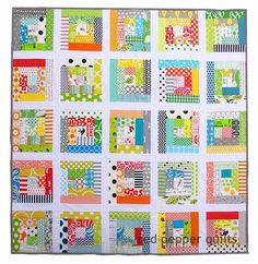 Red Pepper Quilts: Scrappy Log Cabin Quilt II Love all the bright colors in this quilt and the log cabin pattern is my favorite.