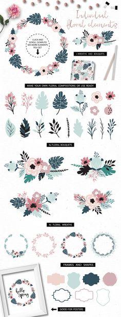 Spring Blooms clip art +branding kit by lokko studio on @creativemarket