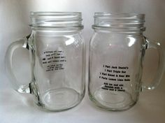 Vintage Jack Daniels Recipe Drinking Jar Glasses