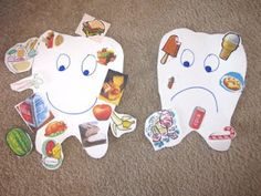 Use tooth pattern: http://www.prekfun.com/themes/prekthemes/A-F/Dental_Hygiene/Printables/Tooth.pdf  And let children cut foods from grocery store circulars.