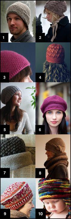 List of ten free knit and crochet hat PDF patterns