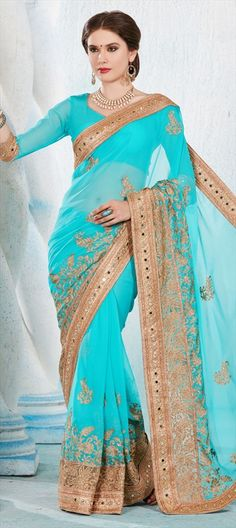 706998 Blue  color family Embroidered Sarees, Party Wear Sarees in Faux Chiffon, Faux Georgette fabric with Lace, Machine Embroidery, Mirror, Stone, Thread work   with matching unstitched blouse.