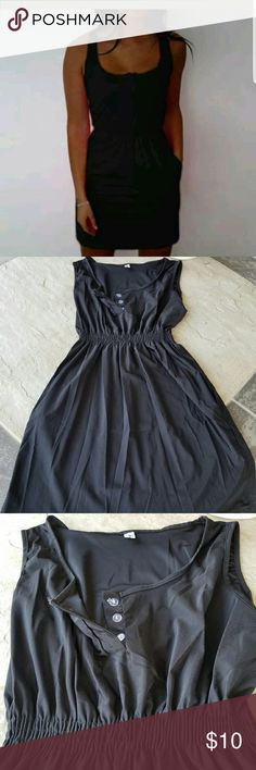 """NWOT Black Summer Dress New without tags, black lightweight dress with pockets. 3 buttons by chest. Brand Fonnee. Size Juniors XL. 100%Polyester blend. Elastic waist. When laying flat from top of dress to bottom is approximately 30.5"""" long, across chest from armpit to armpit is approximately 17"""", waist 11.5"""" but room for stretch. No rips, tears, flaws, or defects. Comes from a smoke free home. Final price unless bundled. No trades, no holds, thank you. Fonnee Dresses Midi"""