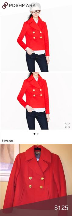 J Crew Red Popover Pea Coat Beautiful wool peacoat is sold out on JCrew online! Red with gold buttons. Only worn a few times, very faint white mark above button (see picture). The mark will likely come out with a cleaning. Excellent condition. J. Crew Jackets & Coats Pea Coats
