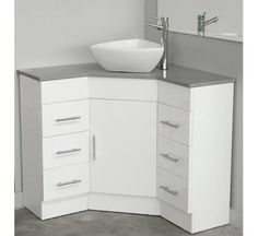 Could work in the bathroom, it would give more space Corner Caesarstone top vanity