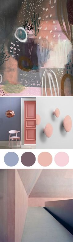 soft pink, peach, aubergine and lilac. Top paining by Tiel Seivel-Keevers. Botttom painitng: James Turrell.