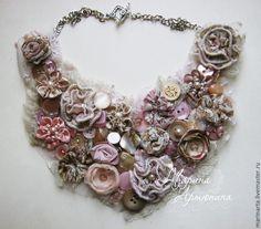 """Купить Колье текстильное розово-бежевое """"Богиня в утреннем свете"""" - бежевый, розовый, розово-бежевый"""