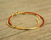 Etsy - Conversations - Red Leather Bracelet with Delicate Gold Ball Chain and Gold Leaf Ornament, listing #84369921