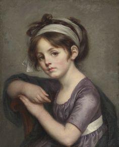 JEAN-BAPTISTE GREUZE TOURNUS 1725 - 1805 PARIS PORTRAIT OF A YOUNG GIRL oil on canvas 46 by 36.8 cm.
