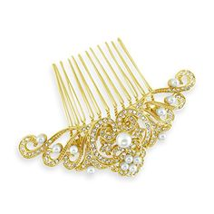 Bridal Gold Art Deco Ivory Pearls Crystal Comb >>> More info could be found at the image url. (This is an affiliate link) #HairSideCombs