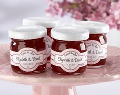 """Spread the Love"" Personalized Strawberry Jam Wedding Favors at WeddingFavors.org"