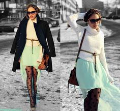 I need some mint high-low skirt...and tights in my life