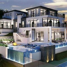 40 Stunning Mansions Luxury Exterior Design Ideas So far, we have sh. - 40 Stunning Mansions Luxury Exterior Design Ideas So far, we have shown you exterior de - Dream Mansion, Mansion Houses, White Mansion, Dream House Exterior, House Goals, Life Goals, Modern House Design, Glass House Design, Design Your Dream House