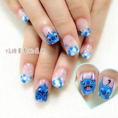 70 nail design inspiration for your nails - Fashion Ruk Nail Art Disney, Disney Acrylic Nails, Disney Nail Designs, Best Acrylic Nails, Summer Acrylic Nails, Cute Nail Designs, Lilo E Stitch, Disney Stitch, Disney Halloween Nails