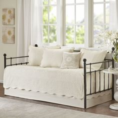 Home Essence Genoa 6 Piece Reversible Scalloped Edge Daybed Cover Set Daybed Room, Daybed Bedding, Bedding Sets, Daybed Couch, Daybed Cover Sets, Daybed Sets, Trundle Beds, Duvet Covers, Bed Bath & Beyond