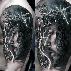3d Mens Jesus With Crown Of Thorns Arm Tattoos