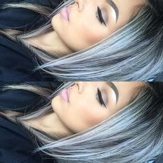 Silver grey hair with dark shadow roots Love Hair, Great Hair, Gorgeous Hair, Hair Color And Cut, Haircut And Color, Pelo Color Plata, Silver Grey Hair, Blue Grey Hair, Gray