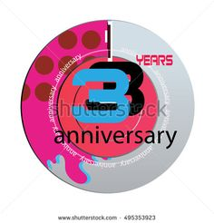 3 years anniversary logo with pink color disc. anniversary logo for birthday, wedding, celebration and party