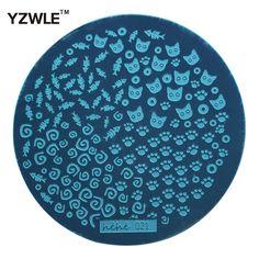 Yzwle 1 개 스탬핑 네일 아트 이미지 플레이트, 5.6 센치메터 스테인레스 스틸 네일 스탬핑 플레이트 템플릿 매니큐어 스텐실 도구 (Hehe-021)