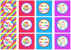 We Heart Parties: Free Printables Art Party Free Printables Art Party Decorations, Art Party Favors, Party Favor Tags, Birthday Painting, Art Birthday, Birthday Party Themes, Party Printables, Free Printables, Cupcake Toppers Free