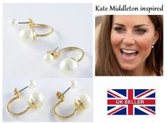 SUPERB 9ct GOLD PLATED DOUBLE PEARL STUD EARRINGS UK