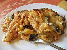 Tepsis - sajtos rizsréteges - sajtszószos cukkiniragu