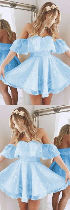 Short A Line Sweetheart Ruffles Shoulder Homecoming Dresses Cute Lace Prom Dresses Short Homecoming Dress 71716 Cute Dresses For Party, A Line Prom Dresses, Trendy Dresses, Dance Dresses, Evening Dresses, Bridesmaid Dresses, Dress Party, Bridesmaid Ideas, Wedding Bridesmaids