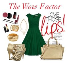 """Green Dress"" by ina-kis ❤ liked on Polyvore featuring moda, Michael Antonio, Tory Burch, Kenneth Jay Lane, H&M, Michael Kors, GREEN, makeup, goldsandals e goldjewelry"