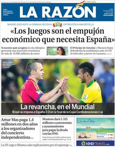 Los Titulares y Portadas de Noticias Destacadas Españolas del 1 de Julio de 2013 del Diario La Razón ¿Que le parecio esta Portada de este Diario Español?
