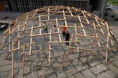 Wang Shu_ Decay of a dome #temporary #structure #temporarystructure #wood #biennale #venice #wangshu #reciprocal