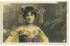 C 1905 French Theater Mlle Christiane Edwardian Headdresss Beauty Photo Postcard | eBay