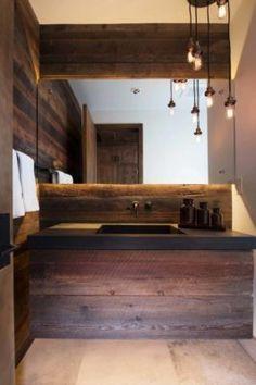 Contemporary reinterpretation of traditional chalet: Ski Haus Rustic Bathroom Designs, Bathroom Decor Sets, Rustic Bathrooms, Wood Bathroom, Bathroom Interior Design, Modern Bathroom, Small Bathroom, Bathroom Taps, Bathroom Ideas