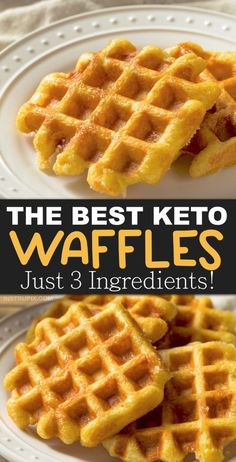 Easy Keto Chaffles Recipe (low carb waffles) made with almond flour or coconut flour. Just 3 ingredients! This quick and easy keto breakfast idea is soon going to be your new favorite! It's simple, low carb, ketogenic friendly, grain free, gluten free and Keto Waffle, Waffle Recipes, Bread Recipes, Low Calorie Waffle Recipe, Egg Waffle Recipe, Cake Recipes, Ketogenic Recipes, Low Carb Recipes, Ketogenic Diet