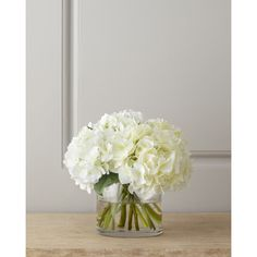 Diane James White Hydrangea Bouquet ($395) ❤ liked on Polyvore featuring home, home decor, floral decor, flowers, white, home decor faux floral, fake flower bouquet, white fake flowers, fabric flowers and hydrangea fake flowers