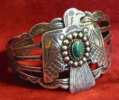 Beautifully stamped Navajo silver bracelet with thunderbird and turquoise stone Navajo Jewelry, Chunky Jewelry, Southwest Jewelry, Western Jewelry, Ethnic Jewelry, Boho Jewelry, Jewelery, Silver Jewelry, Jewelry Accessories