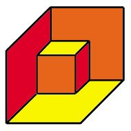 Is this a small cube inside a room? or a big cube with a notch taken out of it? Optical Illusions Pictures, Illusion Pictures, Illusion Paintings, Illusion Art, Escher Art, 3d Pencil Drawings, Wall Cubes, Acoustic Wall Panels, Op Art