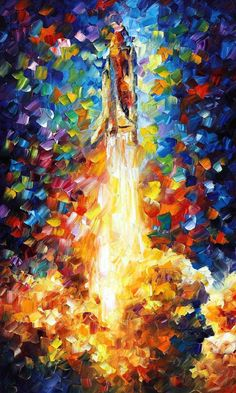 """Space Shuttle — PALETTE KNIFE Modern Wall Art Deco Textured Oil Painting On Canvas By Leonid Afremov - Size: 24"""" x 40"""" (60 cm x 100 cm)"""